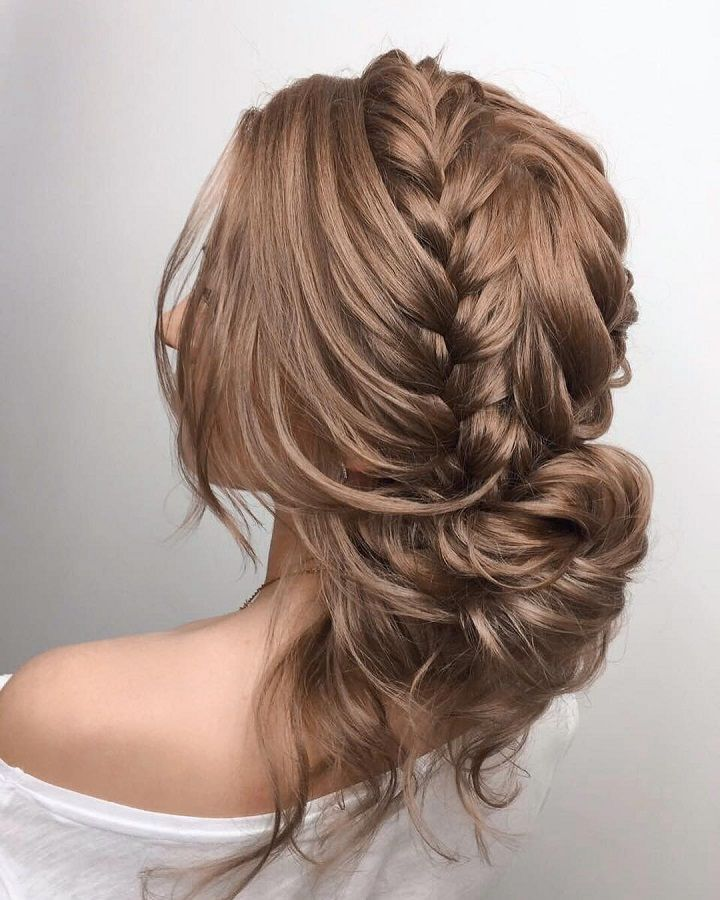 Updo wedding hairstyle inspiration | braided updo bridal hairstyle ideas | double braided updo #weddinghair #updo #chignon #messyupdo #messybridalupdo #hairstyleideas #weddinghairinspiration Fishtail braided updo #updohairstyle #upstyle #bridalhair