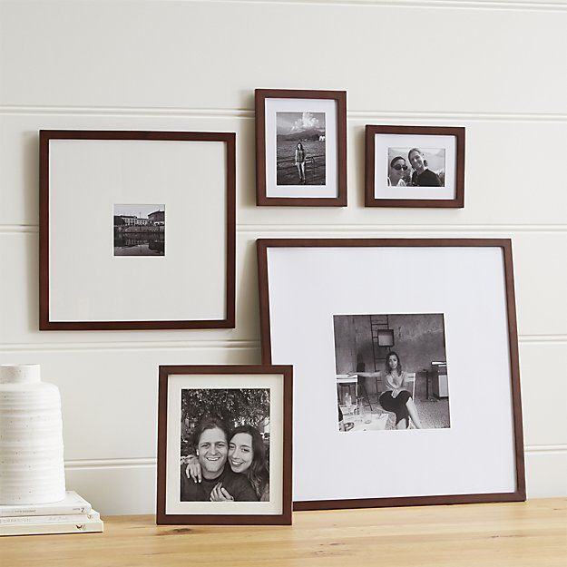 5-Piece Matte Brown Picture Frame Set - Crate and Barrel