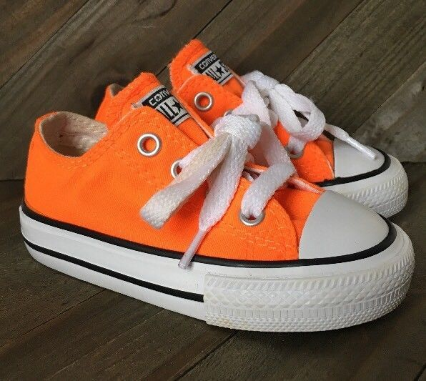 Baby Toddler Boy Girl All Star Converse Sneakers Neon Orange Size 5 ... d96936703