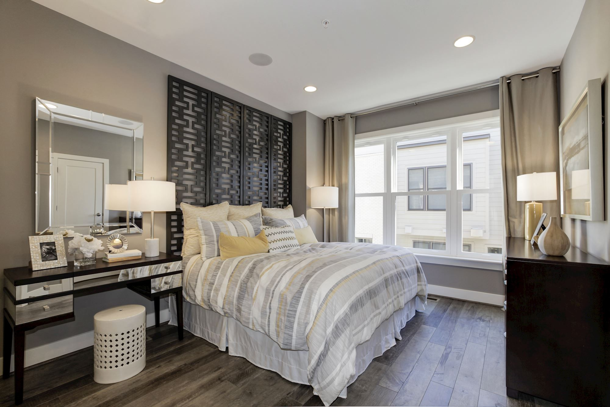 Contemporary Master Bedroom With Gray And Black Color Scheme With