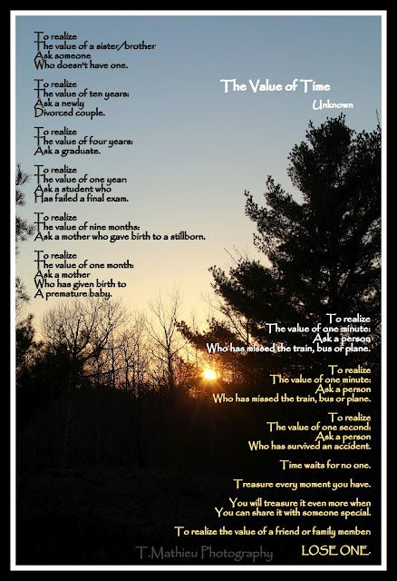 The Value of Time (Poem) | Time poem, Inspirational quotes ...