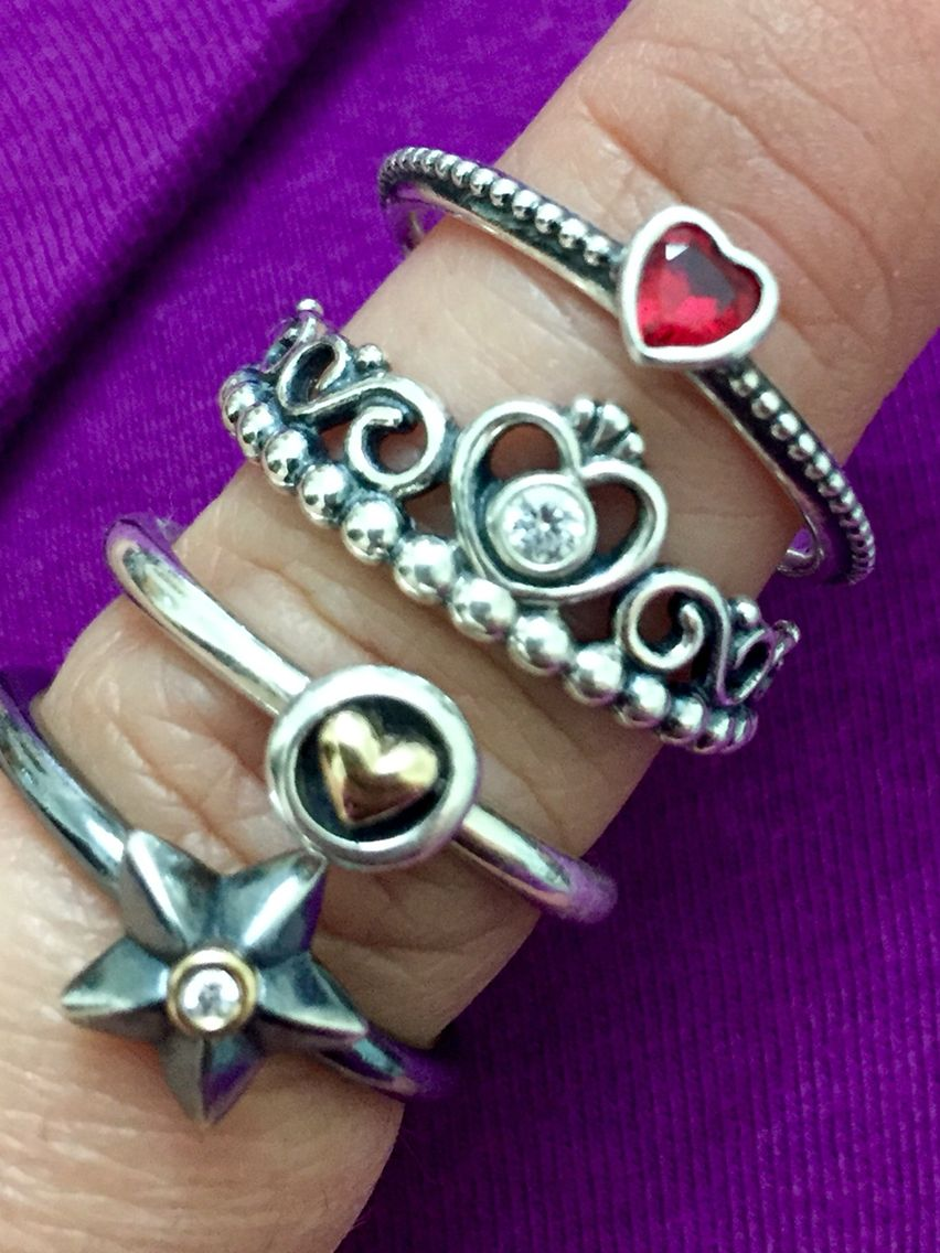 d1181a6b1 Hearts and star rings- Pandora Stella; retired heart ring (name unknown);  My Princess (clear cz); and One Love (golden-red synthetic ruby)