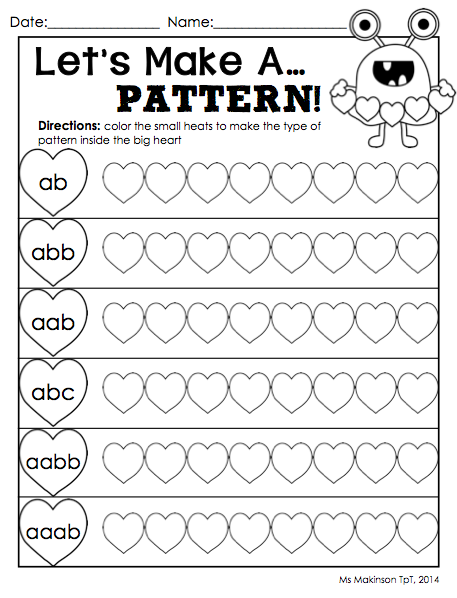 February Printable Packet Kindergarten Literacy And Math Math Patterns Kindergarten Literacy Kindergarten February