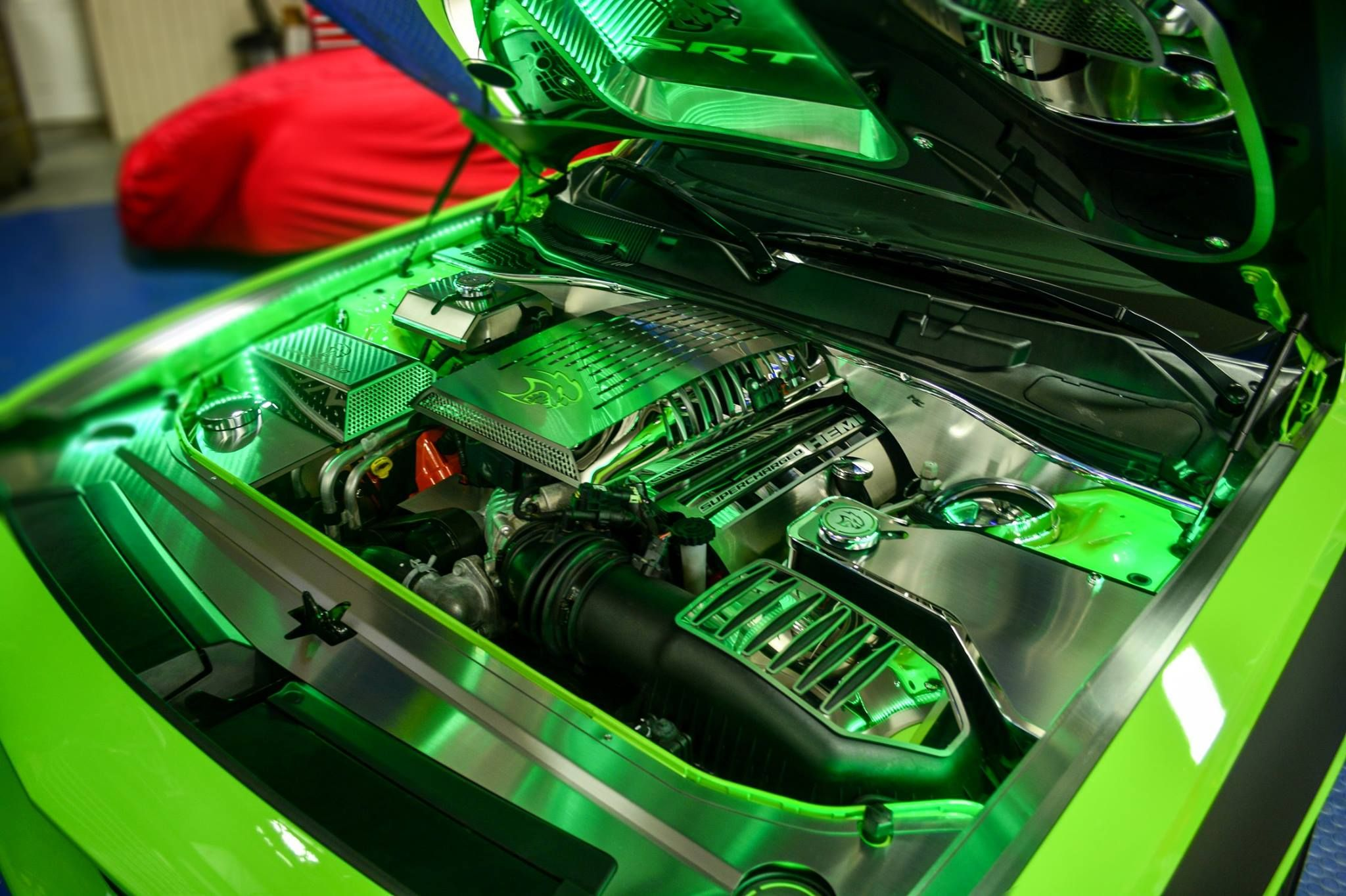 2008-2019 Challenger Scat Pack Fuel Door Overlay Green//Black