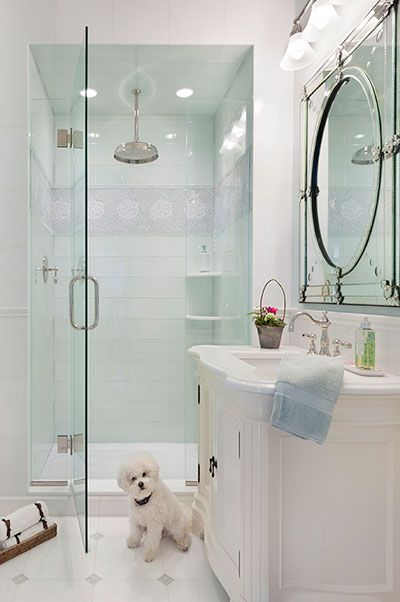 Glossy pale aqua glass tile for the shower walls adds  serene accent to this white bathroom also amy eisenberg refresh pinterest and