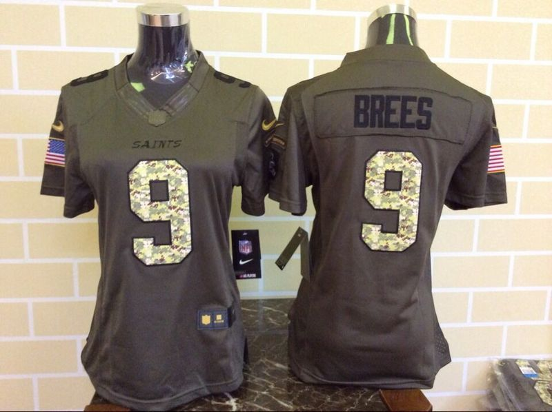 Womens New Orleans Saints 9 Drew Brees Green Nike Salute To Service Limited  Jersey 223d7cab3