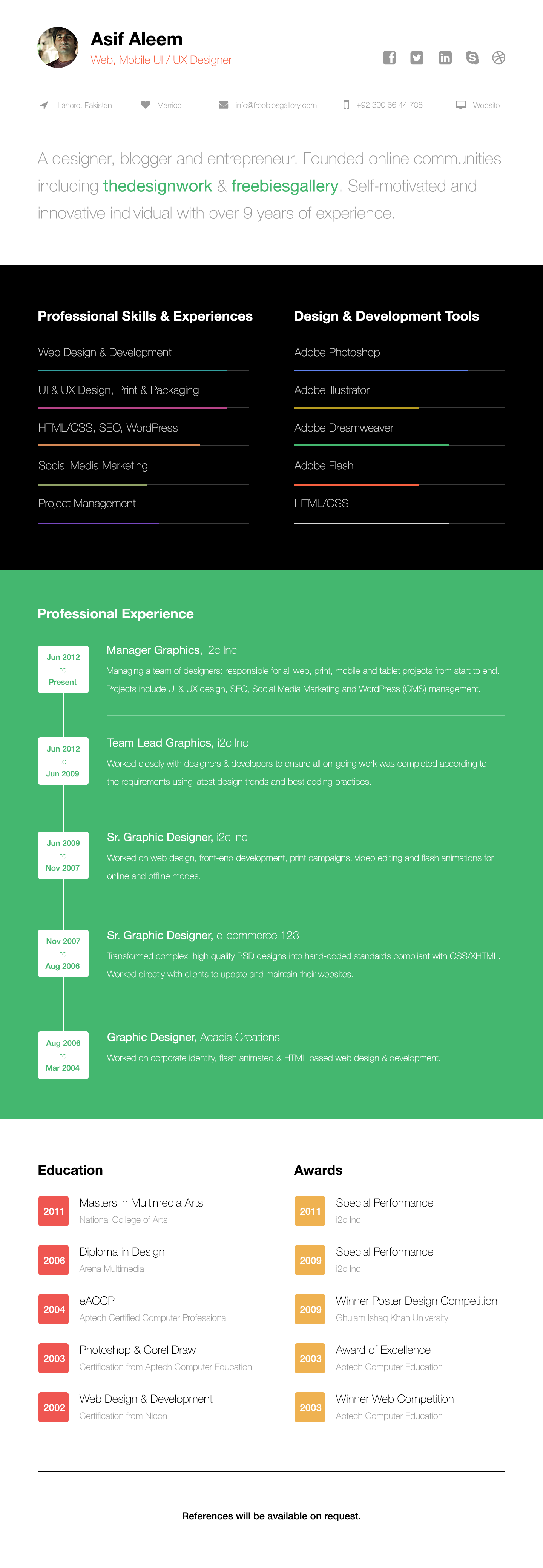 One Page Resume Template Onepagewebresumetemplate  简历  Pinterest  Template