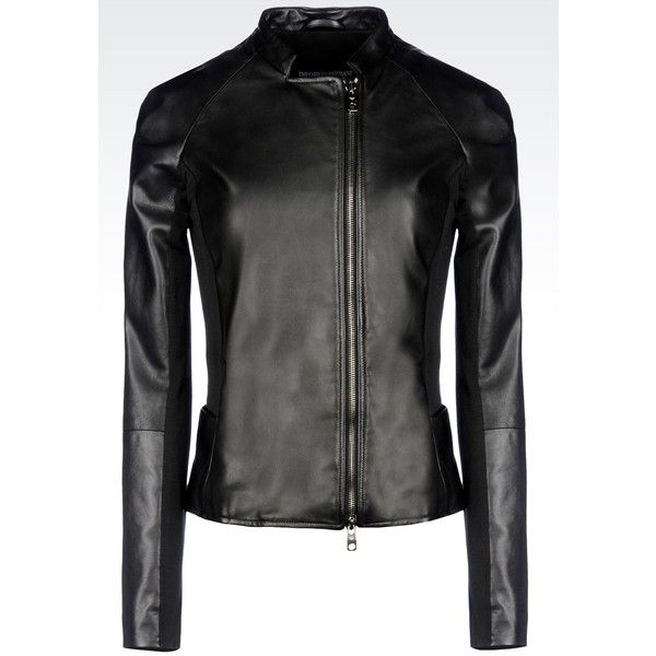 Emporio Armani Light Leather Jacket ($810) ❤ liked on Polyvore featuring outerwear, jackets, black, emporio armani, genuine leather jacket, 100 leather jacket, leather zip jacket and zipper jacket