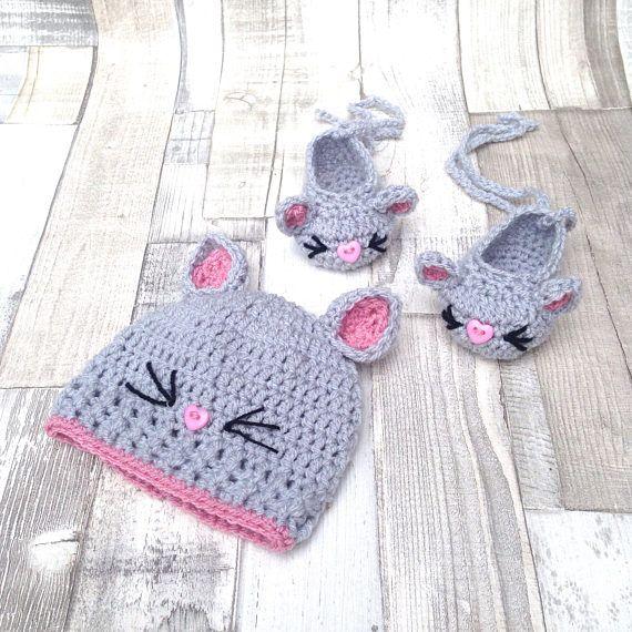 Baby hat, girls crochet hat, cat hat, crochet beanie, baby gift, new ...
