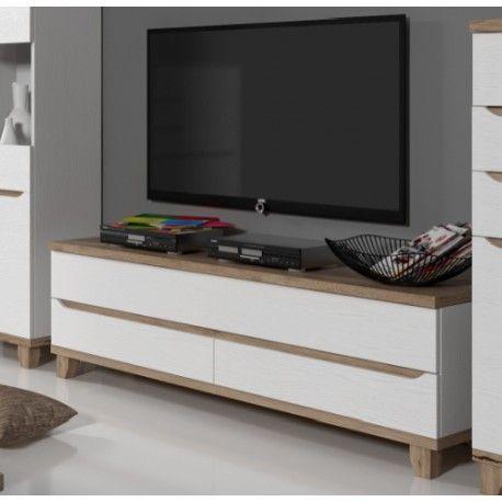 Meuble télé LIER style scandinave avec 2 tiroirs