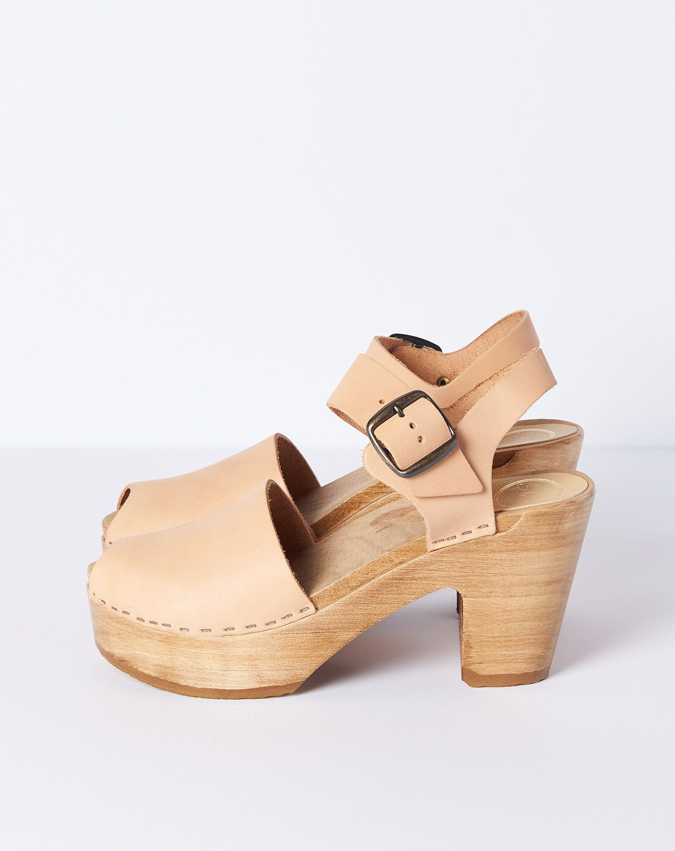 472bd50933b1a2 No. 6 Jane Clog with Peep Toe on Platform in Naked