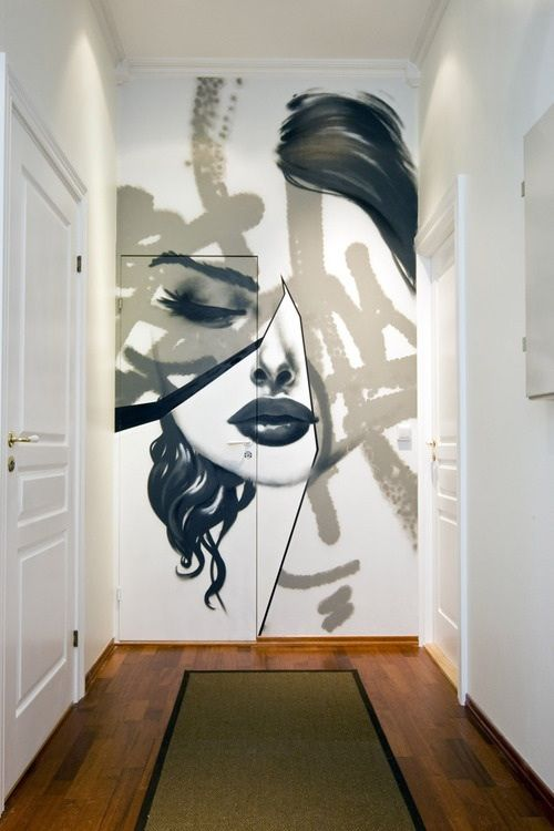 This Bold Wallpaper Covering One Side Of A Wall Including The Door Abstract Wall Painting Creative Wall Painting Wall Painting