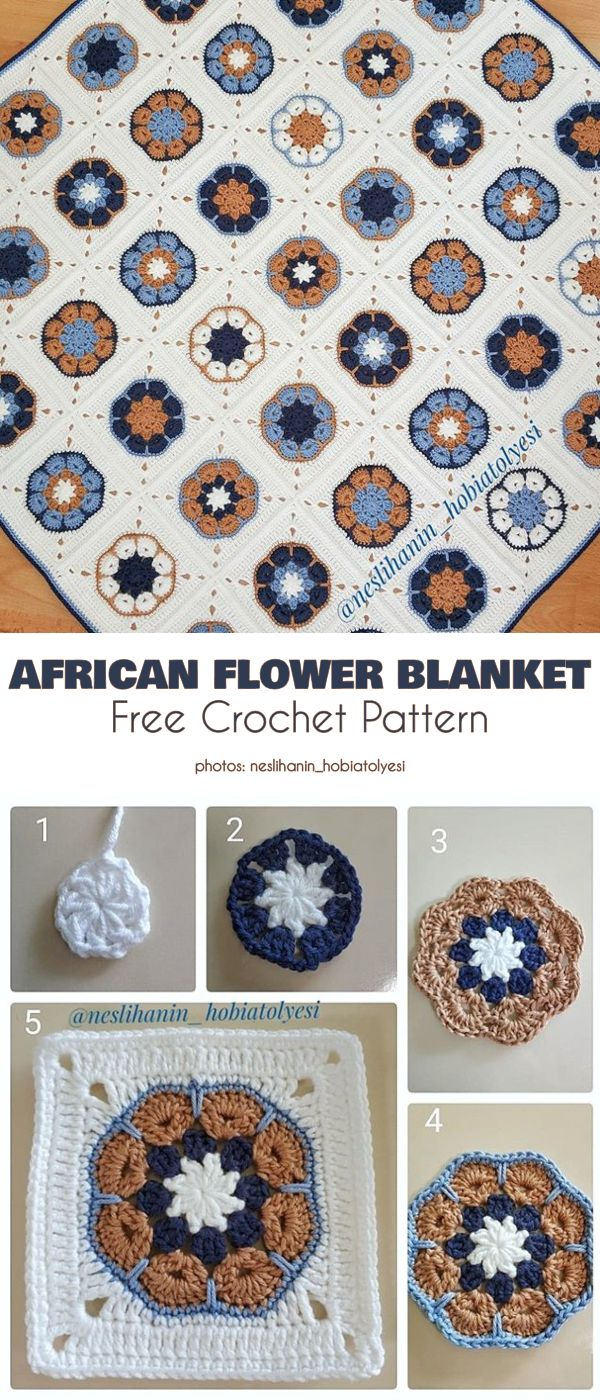 Beauty of African Flower Free Crochet Patterns