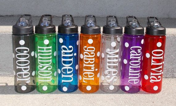 24 oz personalized plastic water bottle with straw polka dots kids