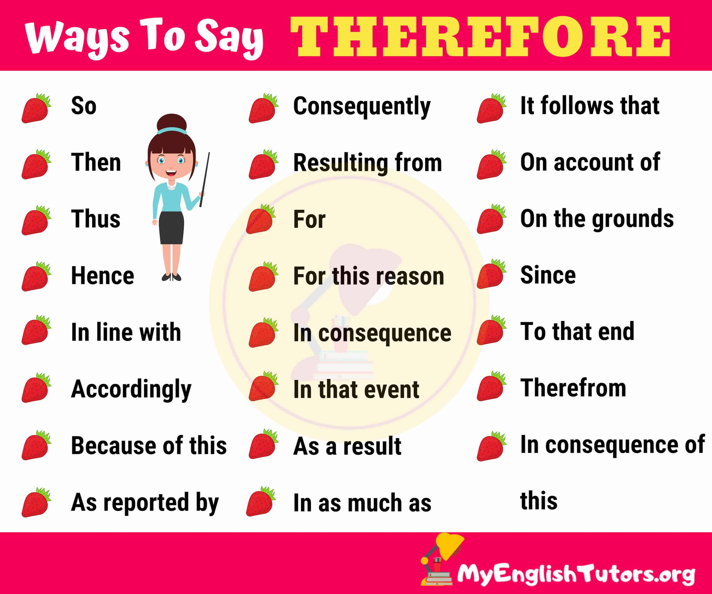 Therefore Synonym 26 Synonyms For Therefore In English My English Tutors Essay Writing Skills English Vocabulary Words Learn English Words
