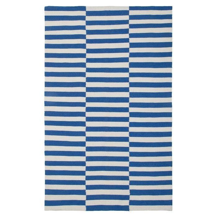 Stripy blue rug