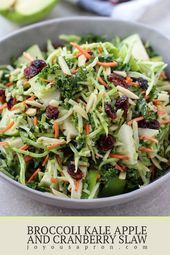 Photo of Broccoli, Kale, Apple and Cranberry Slaw – the perfect light and healthy salad s…