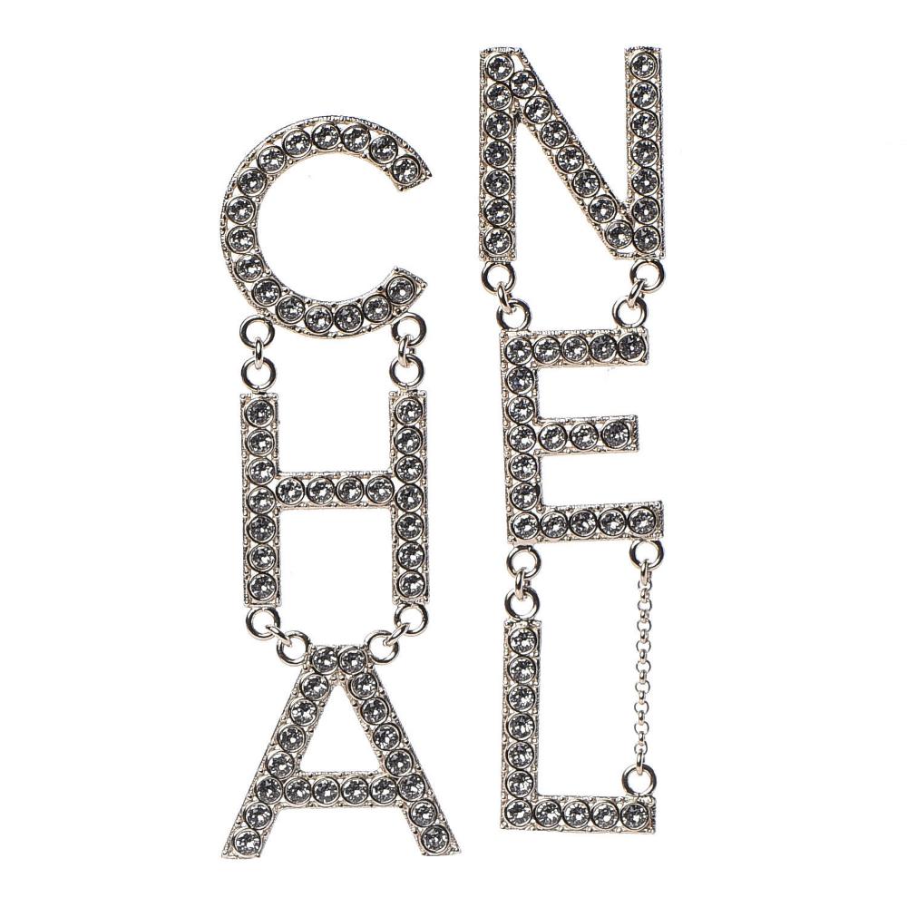 CHANEL Crystal ChaNel Logo Drop Earrings Gold Crystal