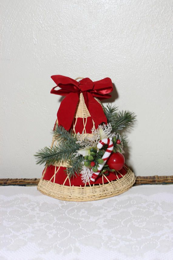 wicker large christmas bell with evergreen and candy cane