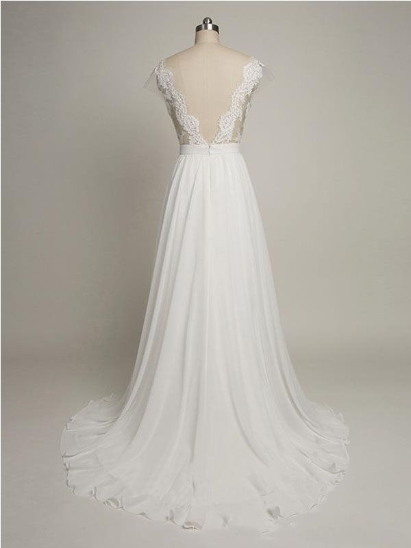 9c28e3cd911 Simple A-line Cap Sleeves Sweetheart Long Chiffon Wedding Dress with Lace
