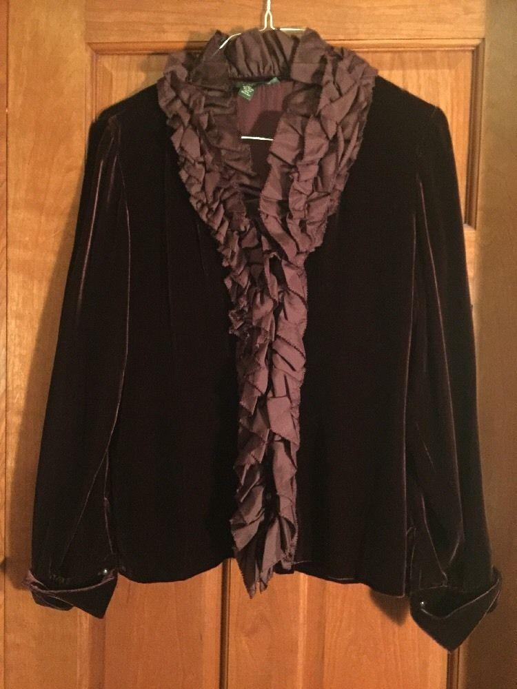 RALPH LAUREN Aubergine Silk Ruffled Velvet Plum Shirt Jacket Large EUC #RalphLauren #Blouse #EveningOccasion