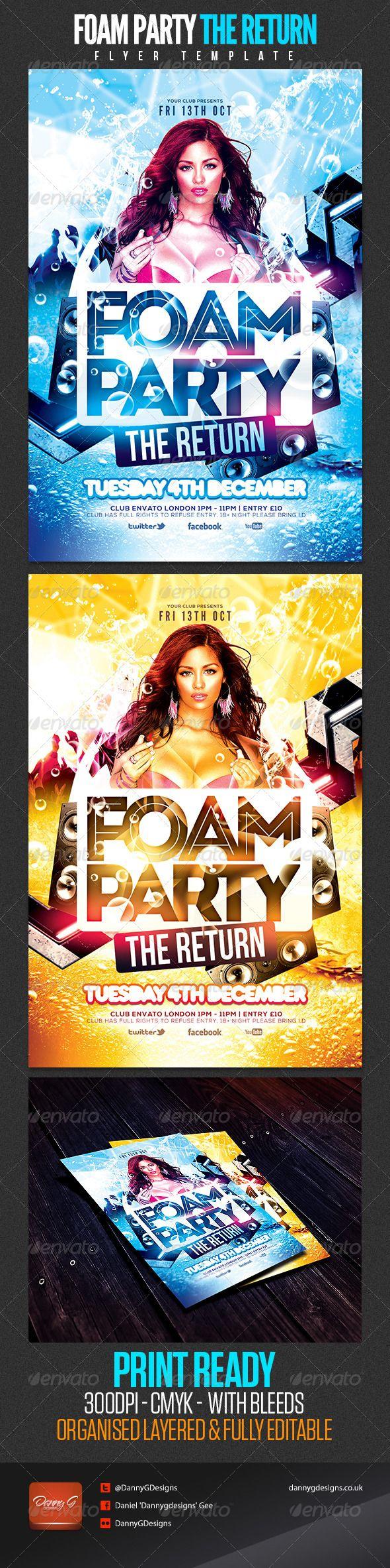 Foam Party The Return Flyer Template | Foam party, Flyer template ...
