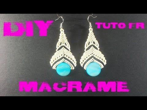 """DIY -  Tuto Paire de Boucle d'Oreilles """"Elégance"""" en Macramé - YouTube"""