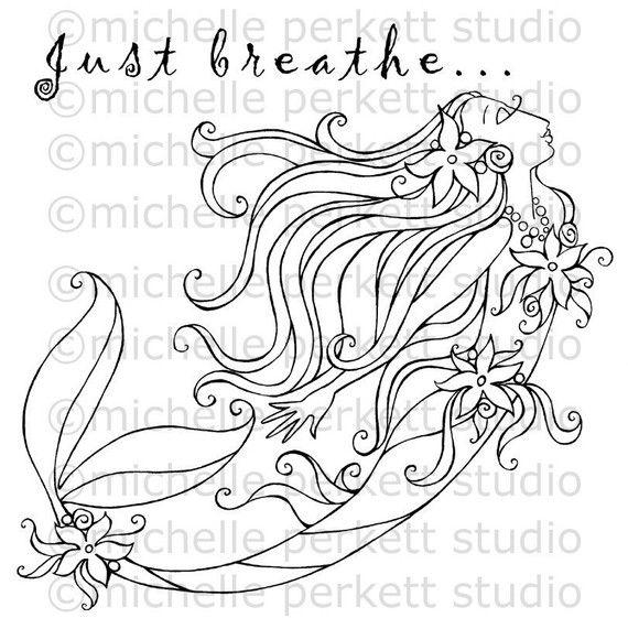 Digital Stamp Image Mermaid Ocean Flowers Tail Fins Pretty Girly ...
