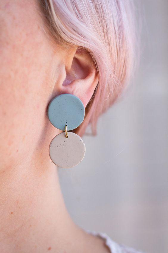 Simple polymer clay neutral dangles Organic shape dangle earrings