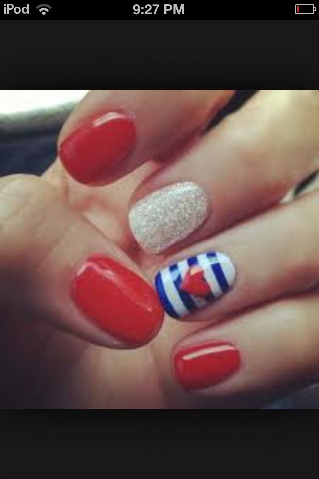 Nail ideas for Fourth of July. :)