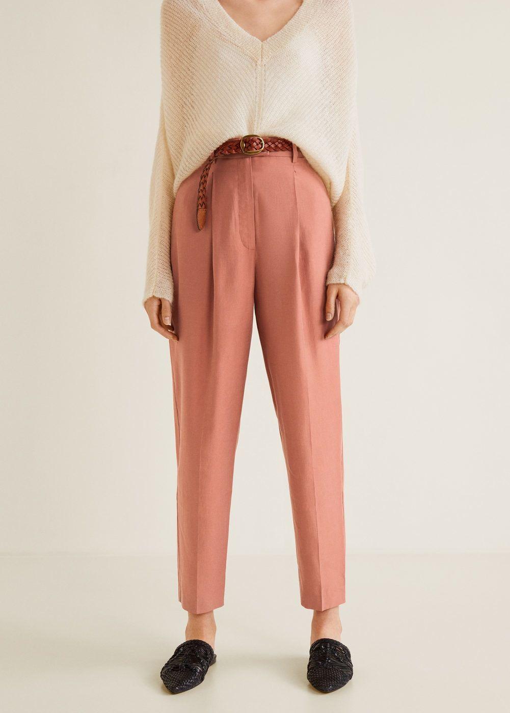 577dad682a1e Coupe baggy Tissu en modal Tissu texturé Passants pour la ceinture Deux  poches latérales Deux poches