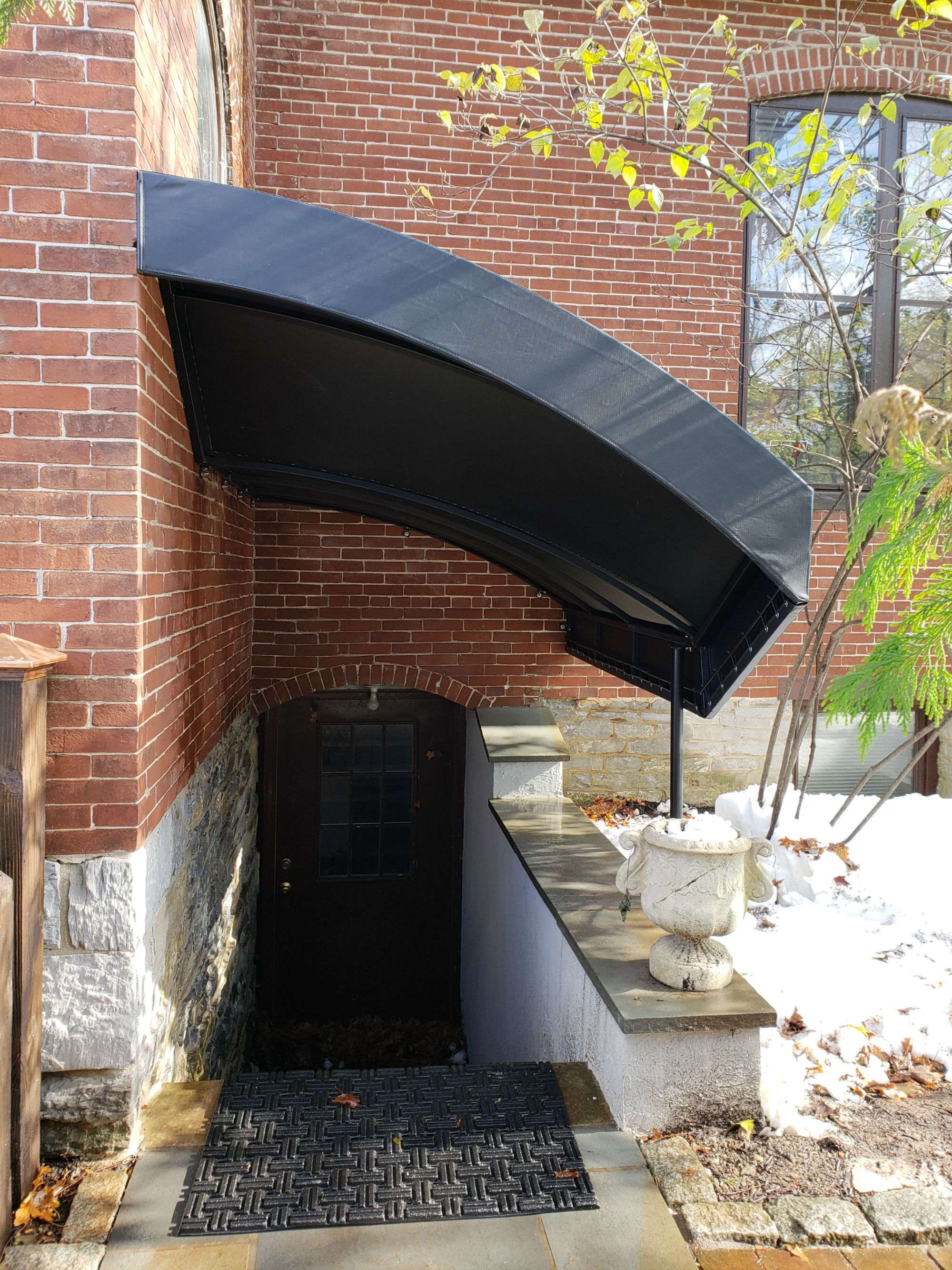 Basement Entrance Stair Canopy For A Church With Images Stairs