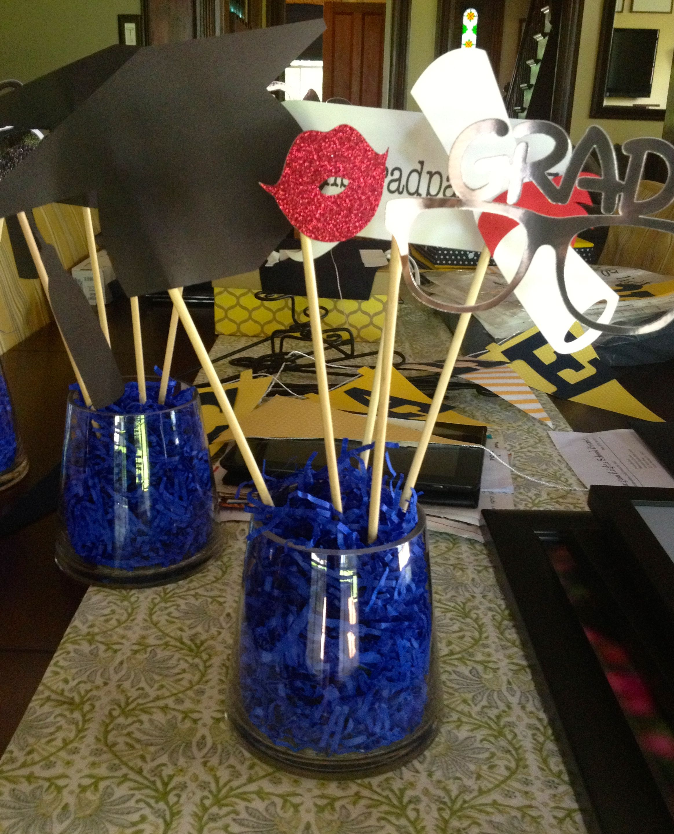 Cute interactive centerpieces for grad party vases