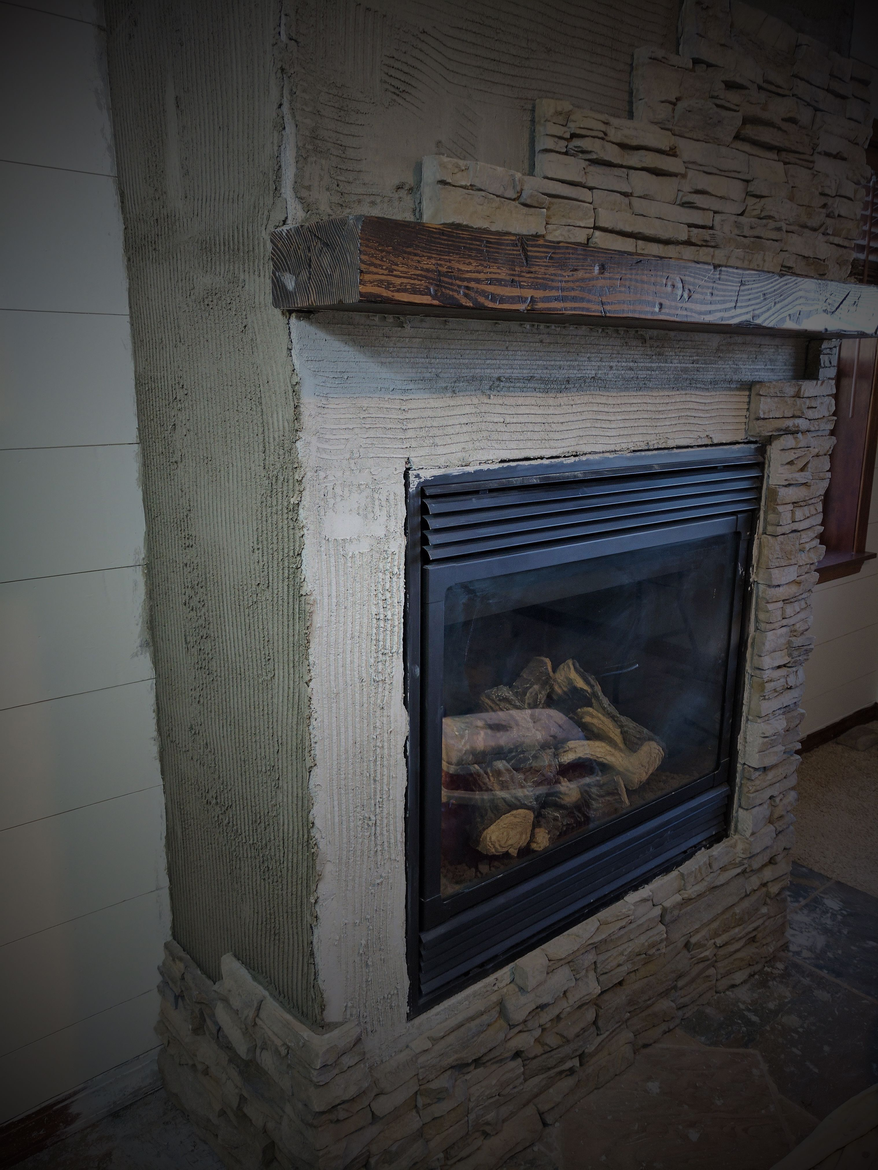 Stacked Stone Fireplace Remodel fireplacemakeoverdiy This