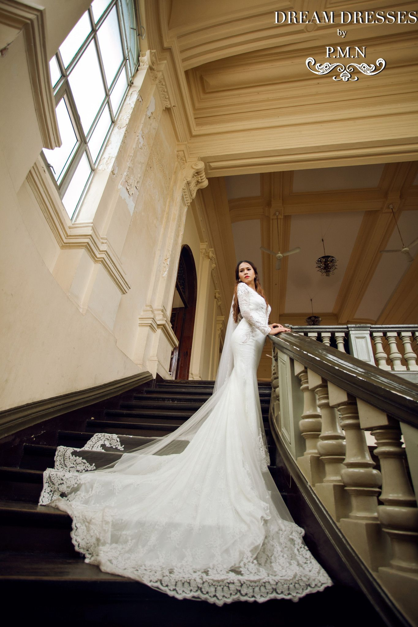 Long sleeve wedding dress with cathedral train style pb in