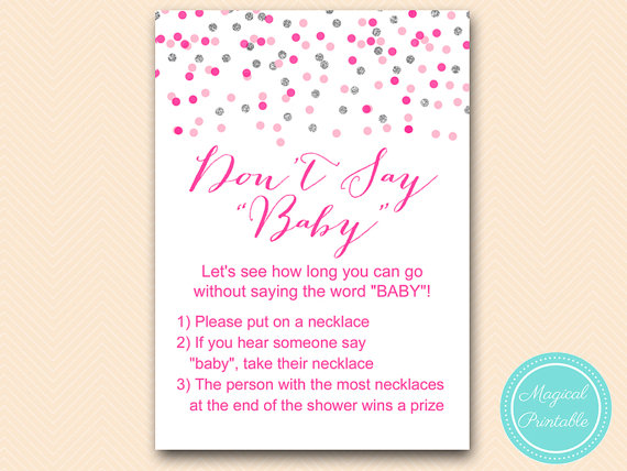photograph about Free Don't Say Baby Printable called Dont Say Little one, Pacifier Necklace Sport Printable, Female Kid