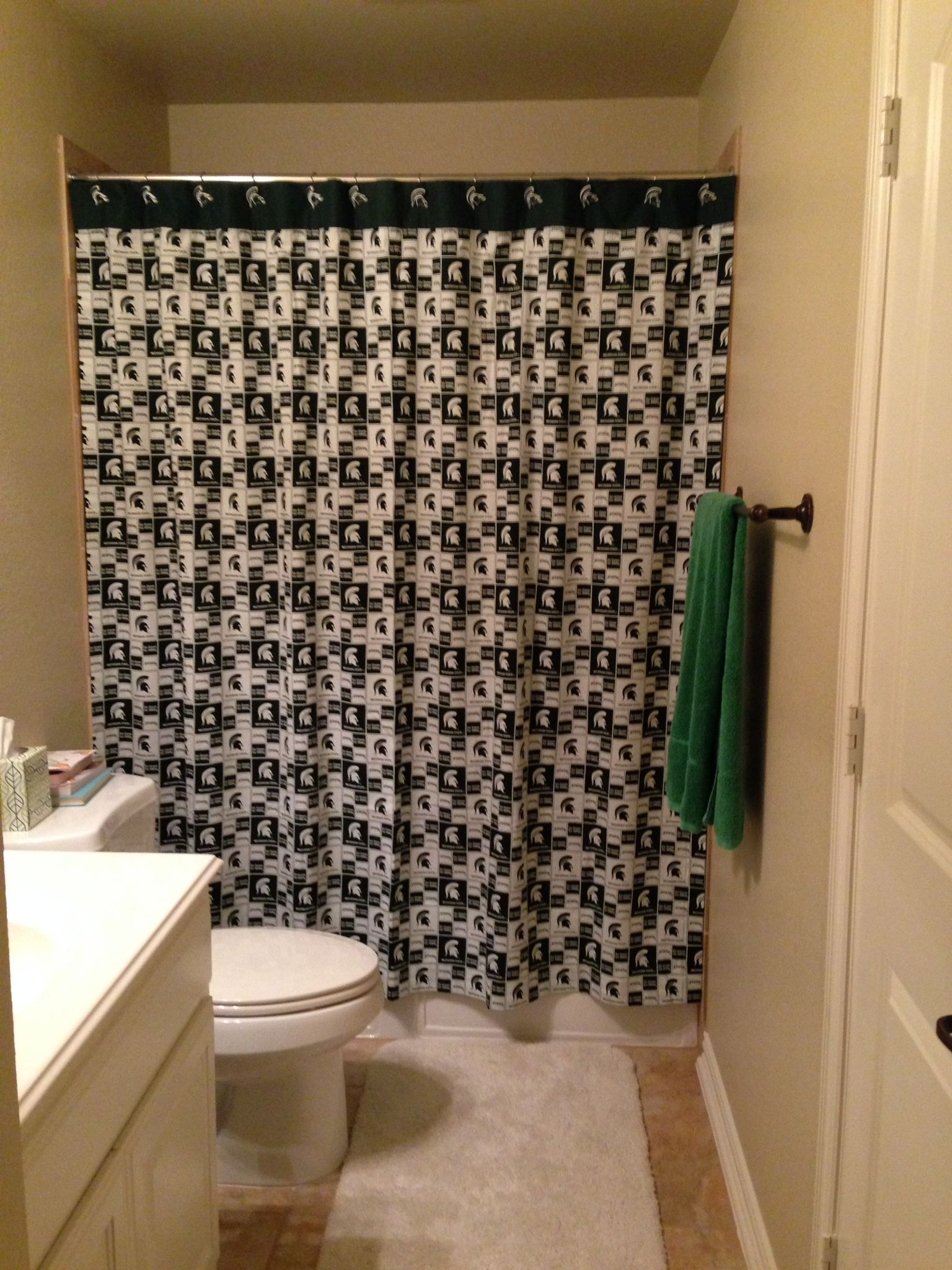 Made This Michigan State Spartans Shower Curtain For My Sons Man Cave Bathroom