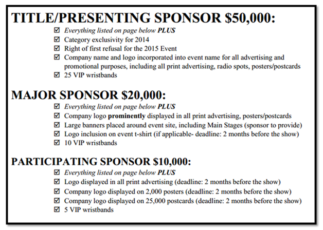image result for sponsorship levels letter
