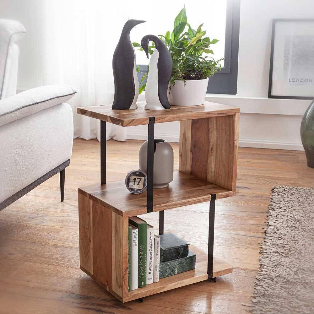 45x60x30 Beistelltisch Regal In Akazie Schwarz Aus Holz Metall Matic In 2020 Beistelltisch Sofa Beistelltisch Tisch
