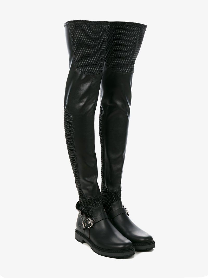 83ec27df196 Black Biker Leather thigh boots | WOMEN'S ❁ KNEE-HIGH BOOTS ...