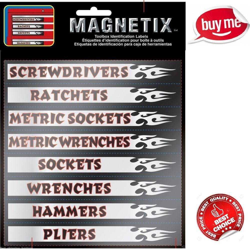 Magnetic Tool Box Labels Chest Storage Organizer Garage Sort Tools Label 16 Pc Chromagraphics Tool Chest Organization Tool Box Woodworking Basics