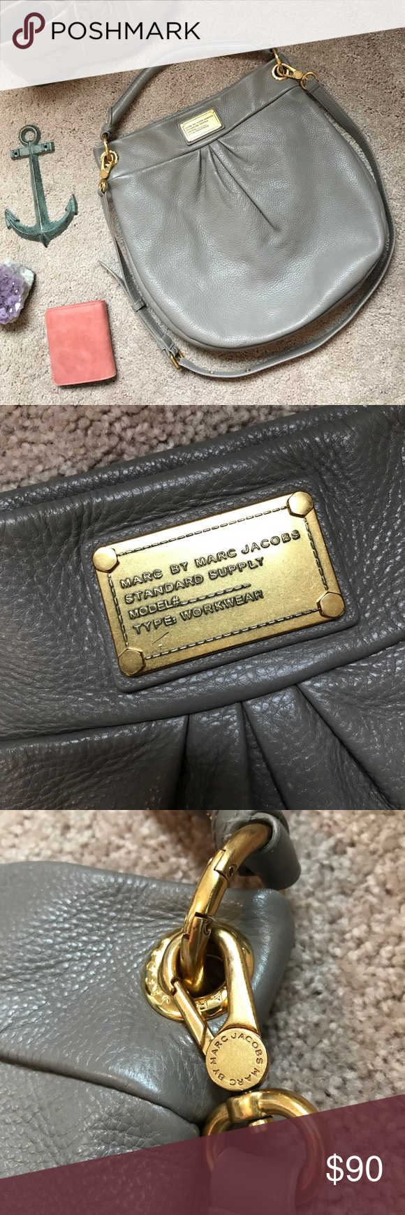Marc Jacobs Q Hillier Hobo Bag - Taupe/Gray/Gold Good condition, shows wear  throughout from general use, but still beautiful. First picture shows true  color ...