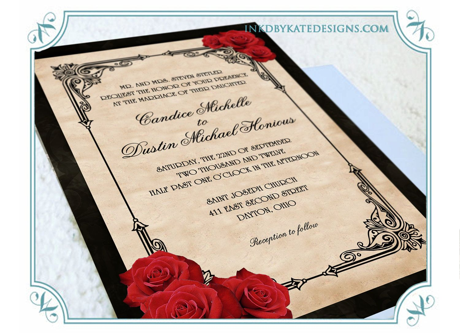 printable vintage black and red romantic rose quinceanera or wedding invitation