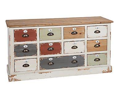 commode bois de sapin multicolore l132 archi deco int. Black Bedroom Furniture Sets. Home Design Ideas