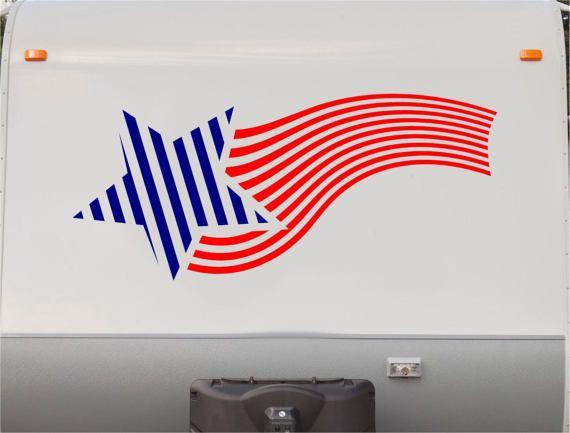 USA Flag Camper Decals - Motorhome Stripe Kit - RV Stickers - Trailer Stickers- Sticker Graphic- Motorhome Decals- RV Stripe Kit- US01