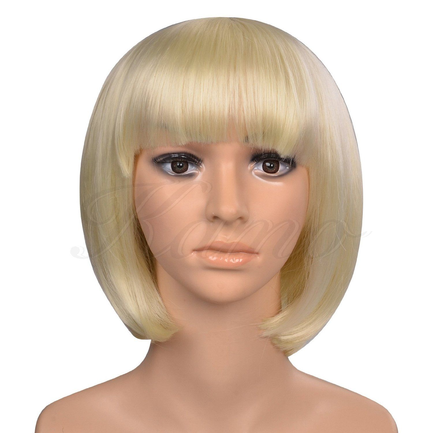 Amazon.com : Kamo Short Straight Bob Sexy Stylish Heat Resistant Sythetic Hair Wig Creamy White Blonde : Hair Extensions : Beauty