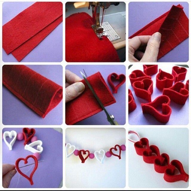 Passo a passo lindo de correntes de corações de feltro que encontrei no @projetonoivaemadrinha!  Você pode usar para decorar o seu noivado ou casamento de várias formas, até mesmo criando cortinas super românticas! Se joga no craft!