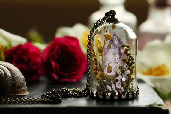 Collana di cristalli ametista, collana di cristallo terrario, punto di quarzo, ametista grezza, ametista viola, terrario di muschio verde, regali per…