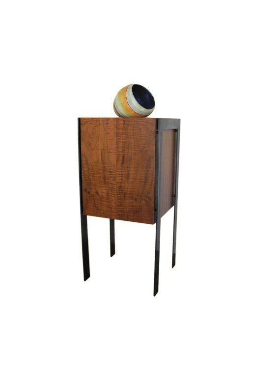 Claro Walnut Drum Display Pedestal By Jacobs Woodworks
