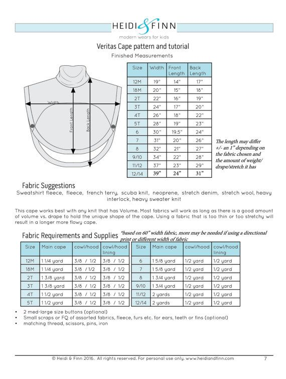 Veritas cape poncho pattern and tutorial 12m-14y holiday jacket coat ...